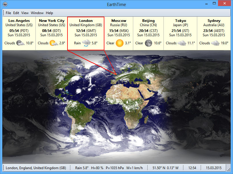 Click to view EarthTime 4.5.15 screenshot