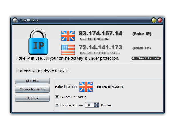 Click to view Hide IP Easy 5.3.7.6 screenshot