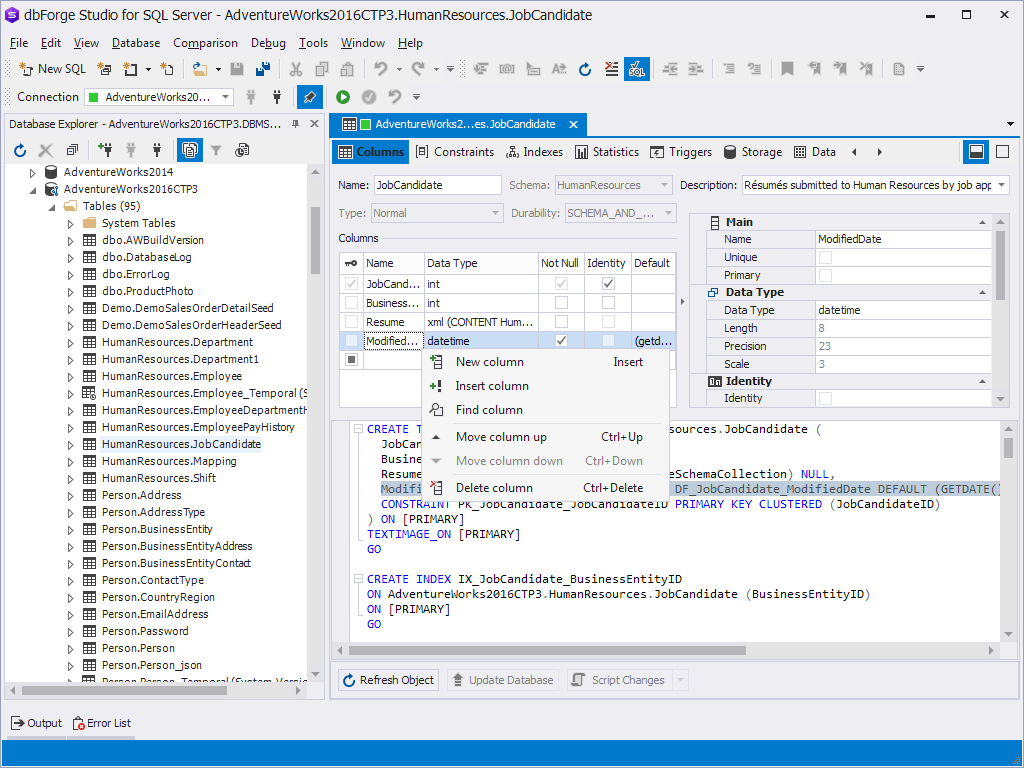 Click to view dbForge Studio for SQL Server 3.8 screenshot