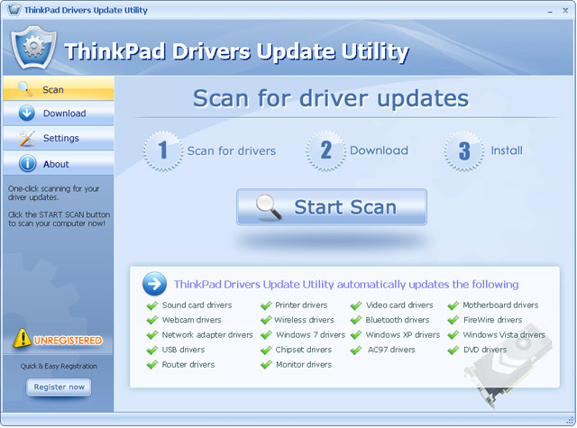 Click to view ThinkPad Drivers Update Utility 6.5 screenshot