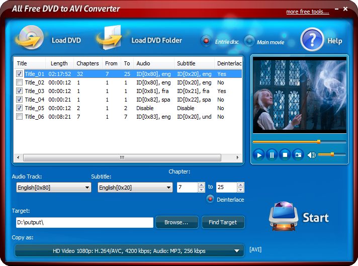 Click to view All Free DVD to AVI Converter 6.0.3 screenshot