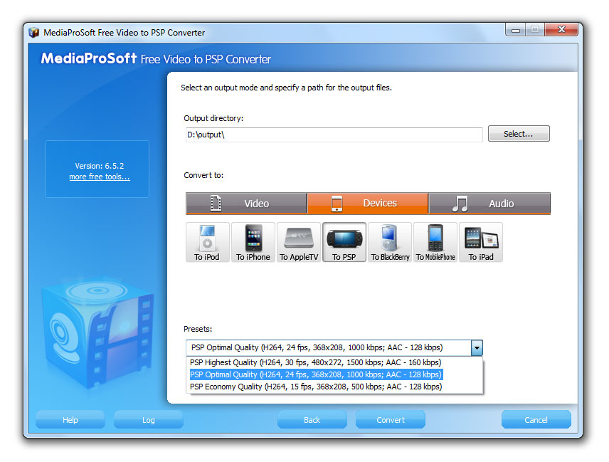 Click to view MediaProSoft Free Video to PSP Converter 6.4.3 screenshot