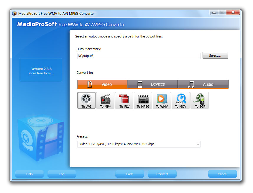 Click to view MediaProSoft Free WMV to AVI Converter 6.4.3 screenshot