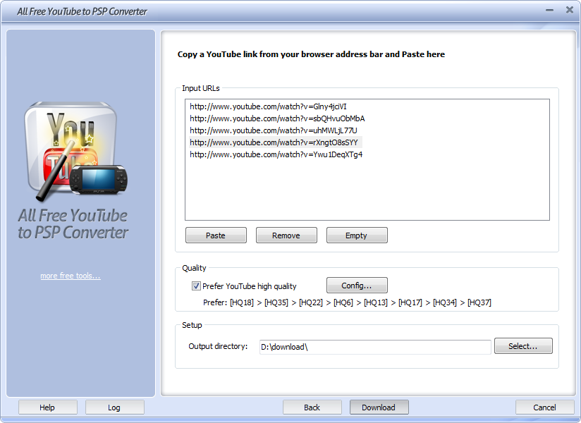 Click to view All Free YouTube to PSP Converter 5.2.7 screenshot