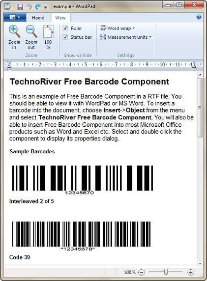 Click to view TechnoRiver Free Barcode Software Component 2.1 screenshot