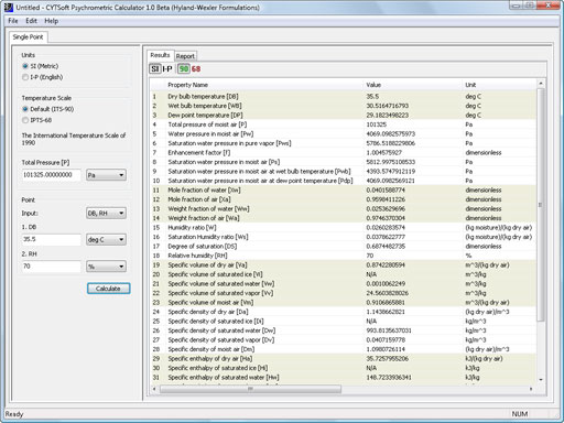 Click to view CYTSoft Psychrometric Calculator 1.0 screenshot