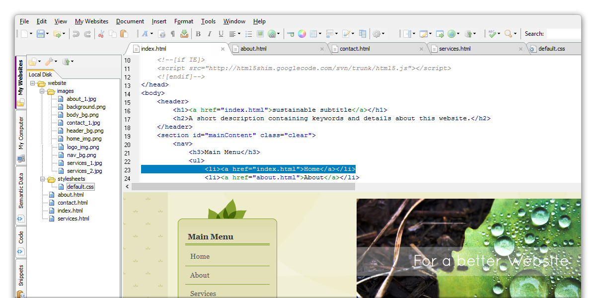 Click to view CoffeeCup Free HTML Editor 10.1 screenshot