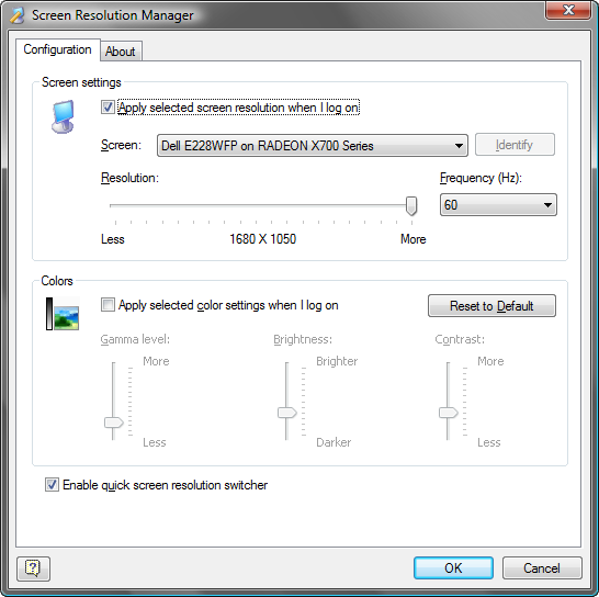 Click to view Screen Resolution Manager 5.0 screenshot