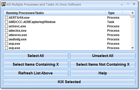 Click to view Kill Multiple Processes and Tasks At Once Software 7.0 screenshot