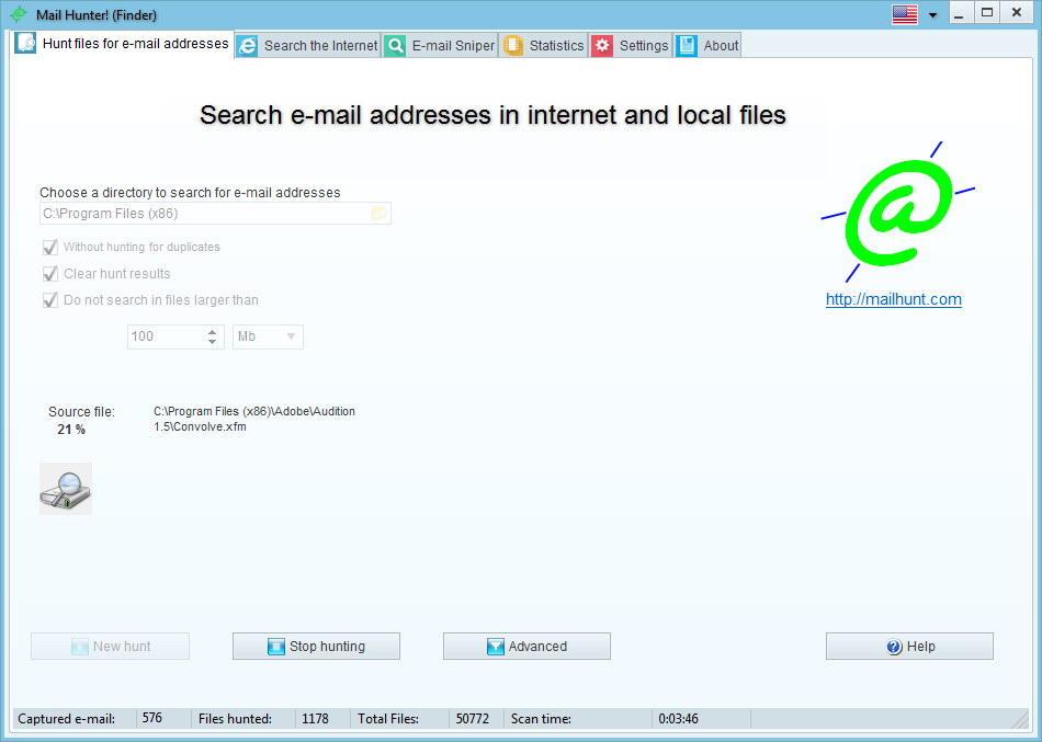 Click to view Mail Hunter Finder 2.94 screenshot