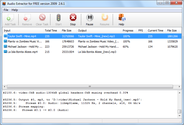 Click to view Audio Extractor for Free 4.2.5 screenshot