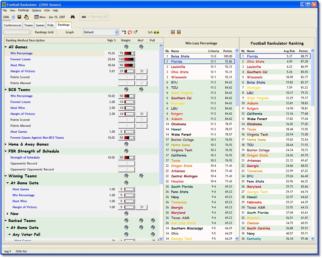 Click to view Football Rankulator 3.0.2 screenshot